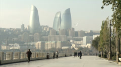 View from the embankment ... Baku in the morning hazeon Fire Tower Stock Footage