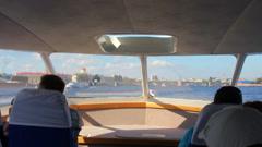 Sail on Neva River in passenger boat - St. Petersburg Stock Footage