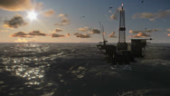 Stock Video Footage of Oil Rig in ocean, timelapse clouds at sunset