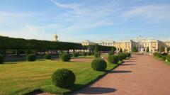 Panorama of Petergof upper park in Saint-petersburg Russia Stock Footage