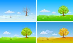 Tree in four seasons: winter, spring, summer, autumn. Stock Illustration