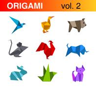 Origami animals logo templates collection 2:bird, duck, dog, mouse, rooster Stock Illustration