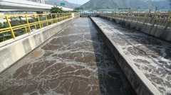 Aeration tank in a sewage treatment plant - stock footage