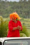 Woman celebrate arriving fuifui moimoi on vavau island, tonga Stock Photos