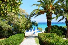way to the beach of luxury hotel, halkidiki, greece - stock photo