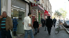 Baku-afternoon on a shopping street interested buyers Stock Footage
