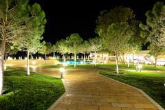 the trees in night illumination at luxury hotel, halkidiki, greece - stock photo