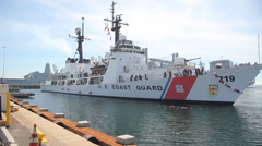 USCGC Boutwell Being towed or tugged into port 5 Stock Footage