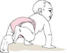 illustration of crawling baby girl in diaper - stock illustration