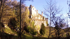 Montaigle Castle is a ruined medieval castle in Falaen. Stock Footage