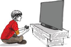 boy playing computer game - stock illustration