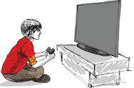 Stock Illustration of boy playing computer game