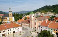 Stock Photo of the historic town center, roznava, slovakia