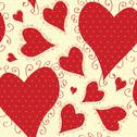 Stock Illustration of elegant seamless pattern with decorative red hearts for your design