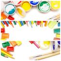 Stock Photo of composition of multicolored drawing instruments over white background