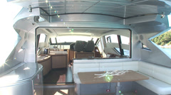 Main deck of luxury yacht - stock footage