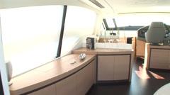 Main deck of luxury yacht Stock Footage