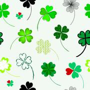 elegant seamless pattern with four leaf lucky clovers for your design - stock illustration