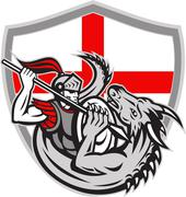 english knight fighting dragon england flag shield retro - stock illustration