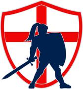 english knight silhouette england flag retro - stock illustration