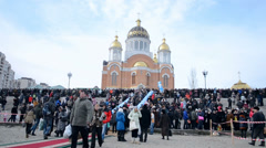 Epiphany near Svjato-Pokrovskiy Cathedral, Kievw Ukraine. Stock Footage