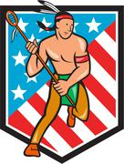 native american lacrosse player stars stripes shield - stock illustration