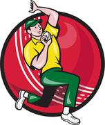 Stock Illustration of cricket fast bowler bowling ball side