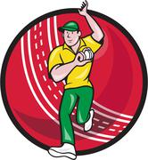 cricket fast bowler bowling ball front cartoon - stock illustration