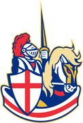 Stock Illustration of english knight riding horse england flag retro.