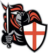 english knight with sword england shield retro - stock illustration