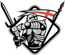 english knight fighting sword england flag retro - stock illustration