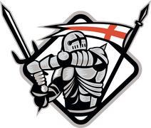 English knight fighting sword england flag retro Stock Illustration
