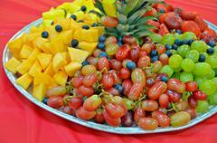 fresh fruit platter - stock photo