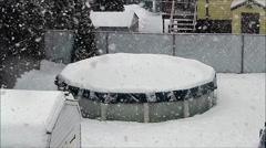 Swimming pool Winter snow - stock footage