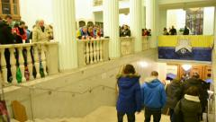 People inside Kiev State City Administration, Euro maidan meeting, Kiev,Ukraine. Stock Footage