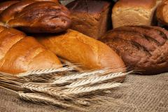 variety of fresh bread with rye ears - stock photo