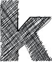 Stock Illustration of hand draw font. letter k