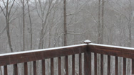 Stock Video Footage of Snow Falling on a Deck Guardrail