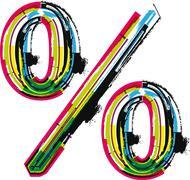 Colorful grunge percent symbol Stock Illustration