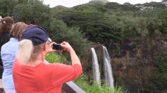 Wailua Falls , tourist Stock Footage