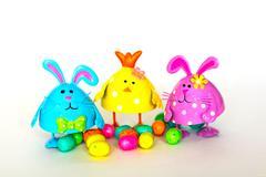 Easter Bunnies with eggs Stock Photos