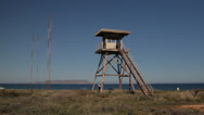 Stock Video Footage of Derelict sentry tower US Air Force Base abandoned Gournes Crete Greece