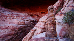 Mayan Serpent Statue in Front of Cave Close Up For Titles Stock Footage