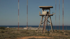 Derelict lookout US Air Force Base Gournes Crete Greece Stock Footage