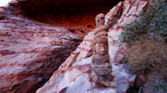 Mayan Serpent Statue in Front of Cave Medium Shot Stock Footage