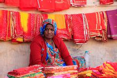 indian woman selling cloth, sadar market, jodhpur, india - stock photo