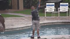 Swimming pool maintenance Stock Footage