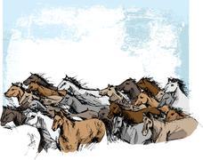 Sketch of horses running Stock Illustration