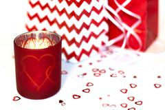 Valentines Candle Heart with Gift Bags Stock Photos