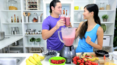 Health Conscious Asian Chinese Couple Drinking Organic Fruit Drink - stock footage